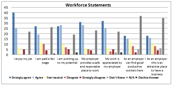 Figure 5: Responses from surveyed community members pertaining employment