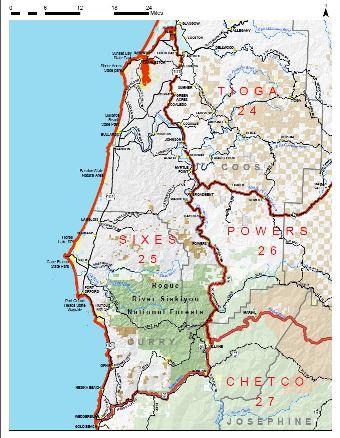 """Figure 1. Map indicating the """"Sixes"""" wildlife management unit. Map courtesy ODFW"""