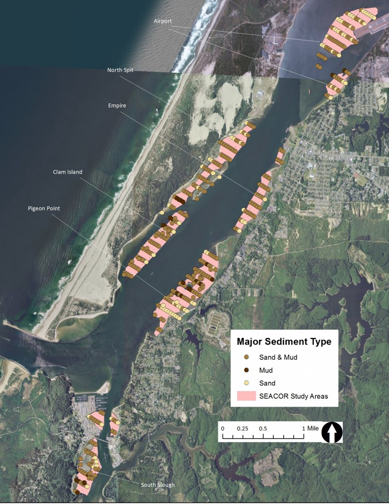Figure 10. Major sediment type in the SEACOR study areas. Data: ODFW 2014.
