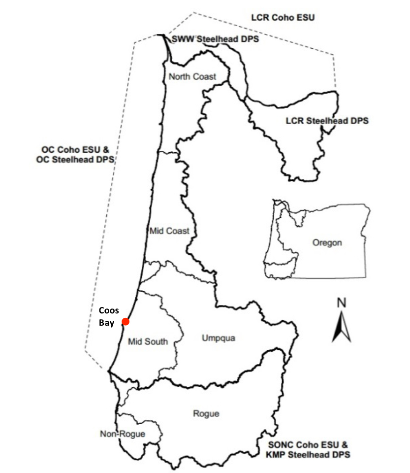 Figure 10. The spatial extent of Coho and steelhead monitoring areas, evolutionarily significant units (ESU), and distinct population segments (DPS) Graphic: Constable and Suring 2013; Codes: LCR- Lower Columbia River, SWW- Southwest Washington, OC- Oregon Coast, SONC- Southern Oregon Northern California, KMP- Klamath Mountain Province