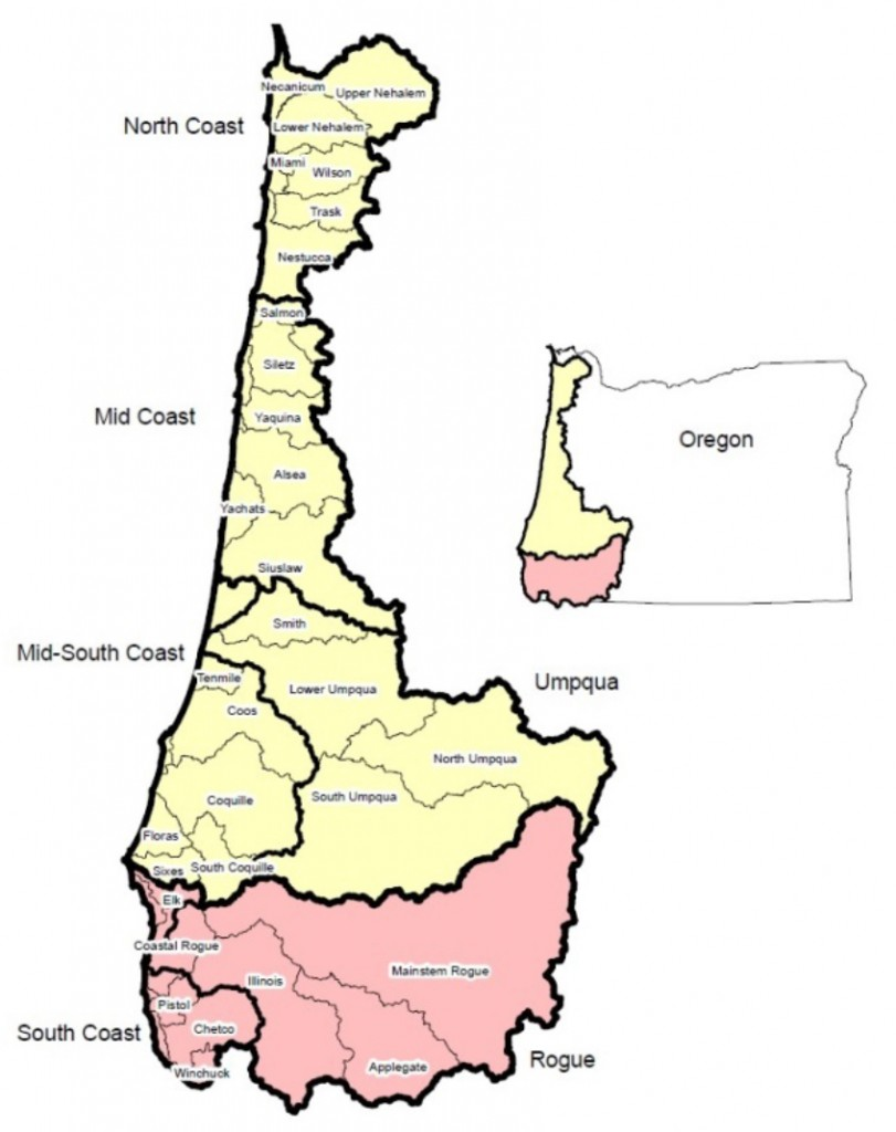 Figure 16. OASIS map of monitoring areas for winter steelhead. Monitoring areas are divided between two Oregon Coast Distinct Population Segments (DPS). The Oregon Coast DPS is shaded above in yellow, and the Klamath Mountain Province DPS is in pink. Graphic: Jacobsen et al. 2013