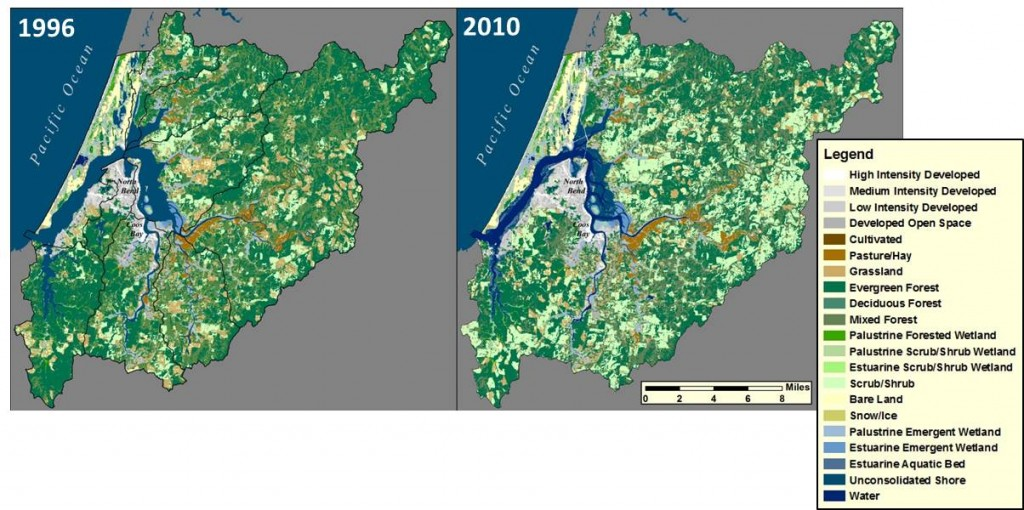 Figure 10. Land cover change from 1996 to 2010. Dark green colors represent forest cover; light green colors delineate scrub/shrub cover. Data: C-CAP 2014