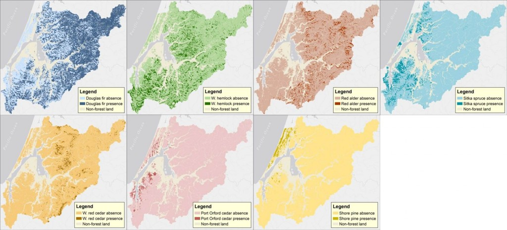Figure 15. Land cover by dominant tree species in the project area. Dominant species with less than 1% cover across the project area are not shown (e.g. white fir, grand fir, white fir/grand fir cross, bigleaf maple, vine maple, white alder, bay laurel). Data: LEMMA 2014a
