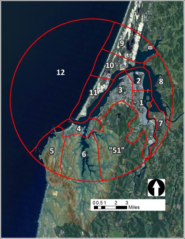 "Figure 1. The local Christmas Bird Count is divided into 12 survey areas. Due to various limitations (e.g., incomplete access, time and effort constraints), comprehensive coverage of the survey area is not possible. Effort is focused on areas that are both accessible and suitable habitat for birds. 1= Downtown Coos Bay, 2= North Bend, 3= Empire, 4= Charleston and Bastendorff, 5= Cape Arago, 6= South Slough, 7= Millicoma Marsh, 8= East Bay, 9= Horsefall and Upper Bay, 10= North Spit, 11= North Jetty, 12= Pelagic habitat, ""51"" = Coos Bay Water Board Lands. Data: Cornu et al. 2012"