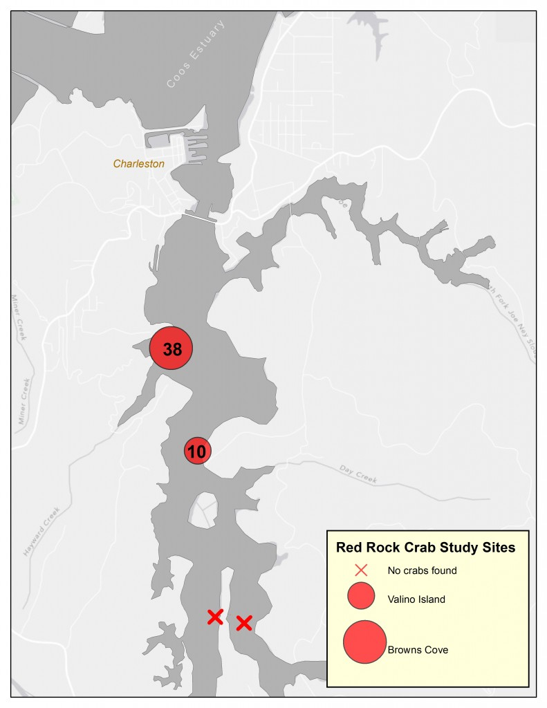 Figure 2. deRivera et al. (2005) study locations. Size of red circles represent relative abundance of red rock crab found. Numbers in symbols represent total number of red rock crabs caught at each site during a single trapping event.