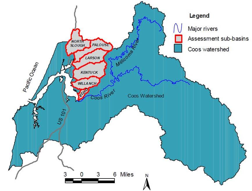 Figure 2. Coos Watershed Association lowland assessment sub-basins . Figure: CoosWA 2006