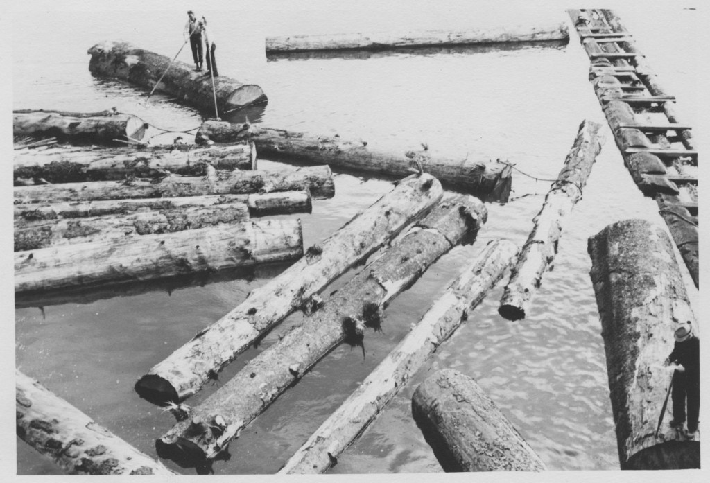 Log pond at Sitka Mill circa 1936. Source: Coquille Indian Tribe