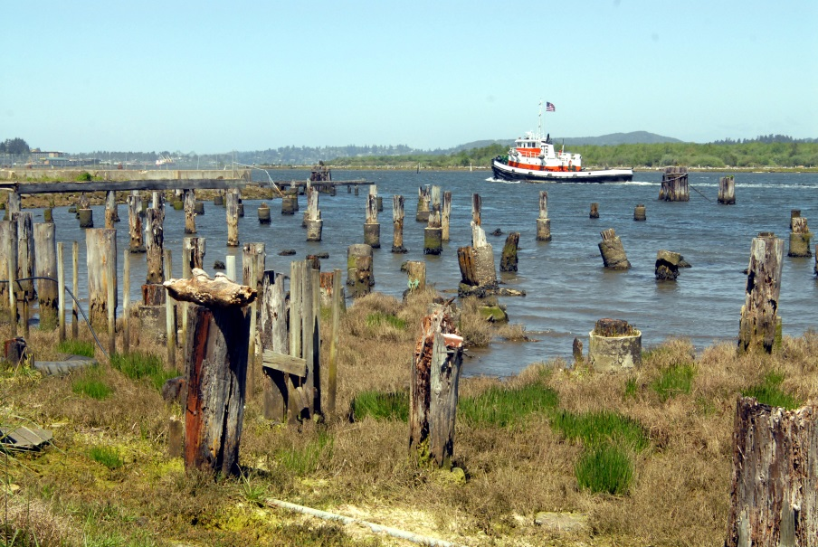Coos Bay waterfront looking south. Showing decaying historical dock infrastructure and marsh vegetation in foreground, with new Coos Historical and Maritime Museum in upper right corner. Source: South Slough NERR