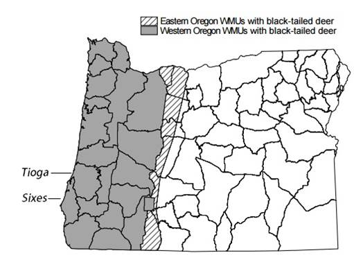 Figure 19. Range map showing the extent of black-tailed deer in Oregon. Although the range of Roosevelt elk in Oregon is not mapped, it corresponds to roughly the same area. Figure: ODFW 2008.