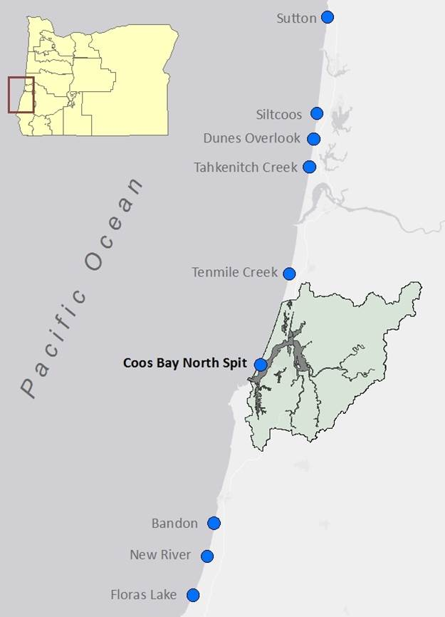 Figure 2. The location of nine snowy plover monitoring sites on the southern Oregon coast, including one site in the Lower Bay Subsystem (bold). The study area is highlighted above (green). Source: Lauten et al. 2012