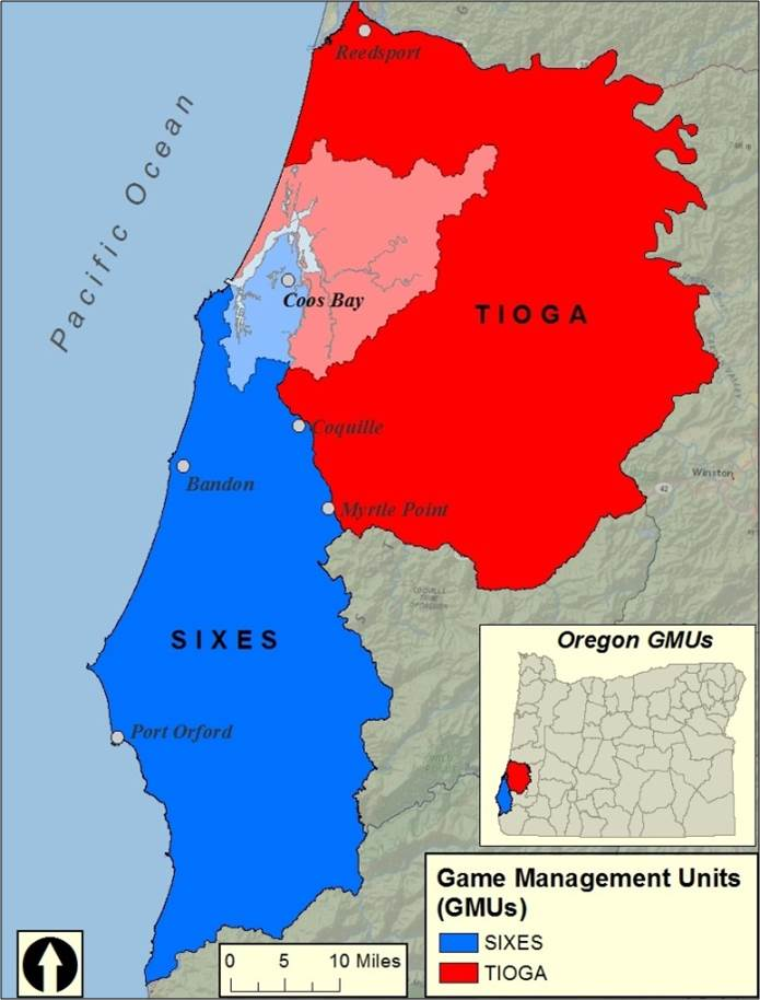 Figure 2. Game Management Units in proximity to the project area (white). The project area contains part of both the Sixes (blue) and the Tioga (red) GMU. Data: ODFW 2010.