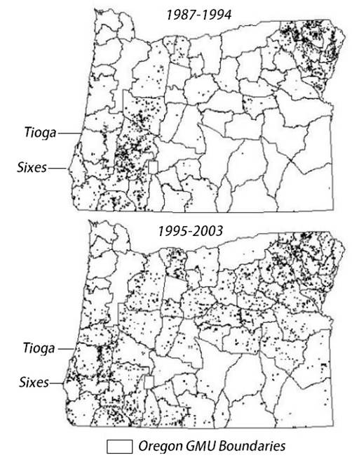 Figure 21. Approximate density of cougar populations in Oregon as shown by cougar mortalities (hunting and non-hunting) between 1987-1994 (top) and 1995-2003 (bottom). Figure: ODFW 2006