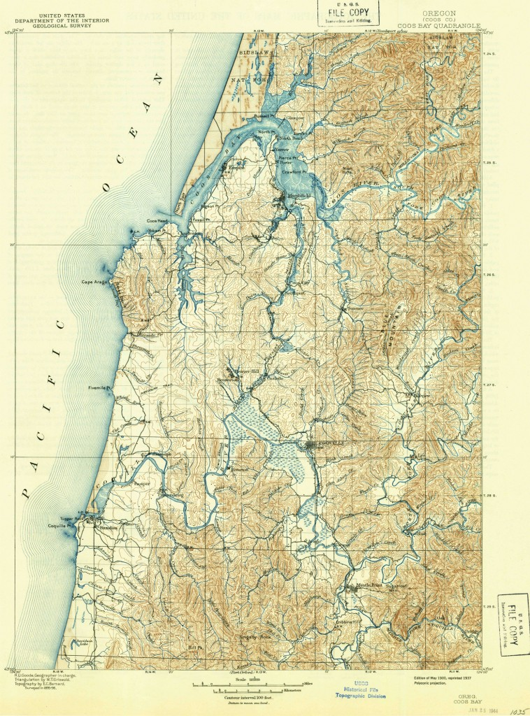Map of the Coos and Coquille estuaries circa 1900. Source: USGS 2012