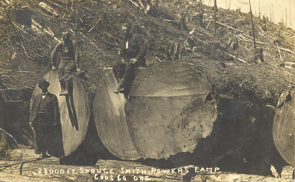 Powers logging camp after felling old-growth spruce trees. Source: Coquille Indian Tribe