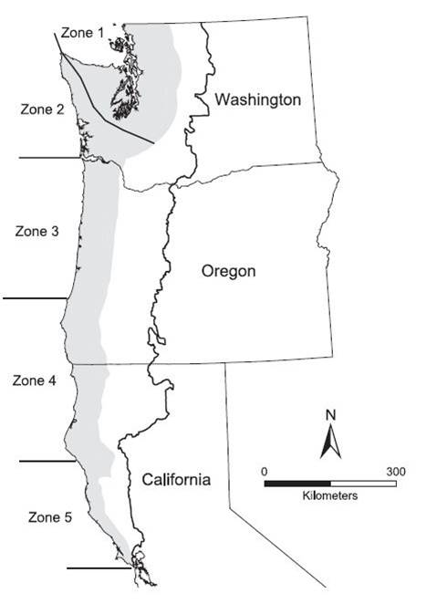 Figure 9. The five marine marbled murrelet conservation zones adjacent to the Northwest Forest Plan (NWFP) area. The inland breeding distribution within the NWFP area is shaded, and the Plan boundary is outlined. Data and caption: Raphael et al. 2011