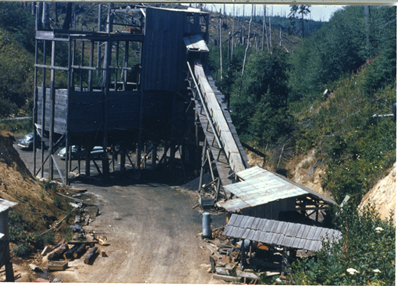 Red Gibbs coal mine on the South Slough, c1950. Source: Coos History Museum and Maritime Collections, CHM 988-NA1.6