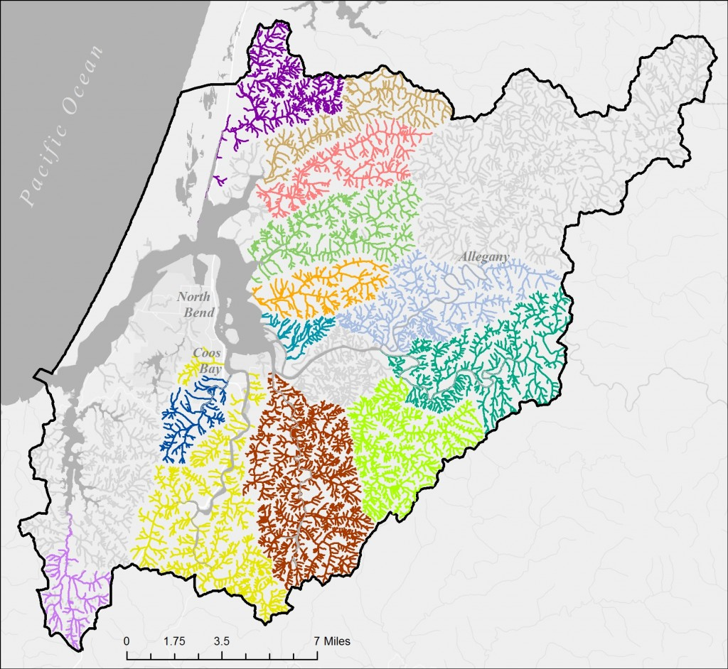 Figure 2. Subwatersheds evaluated by CoosWA for stream and riparian habitat surveys. With the exception of South, Isthmus, and Coalbank Sloughs, all drainage basins were also evaluated with HLFM modeling. Data: CoosWA 2006, 2008, 2011c; Cornu et al. 2012