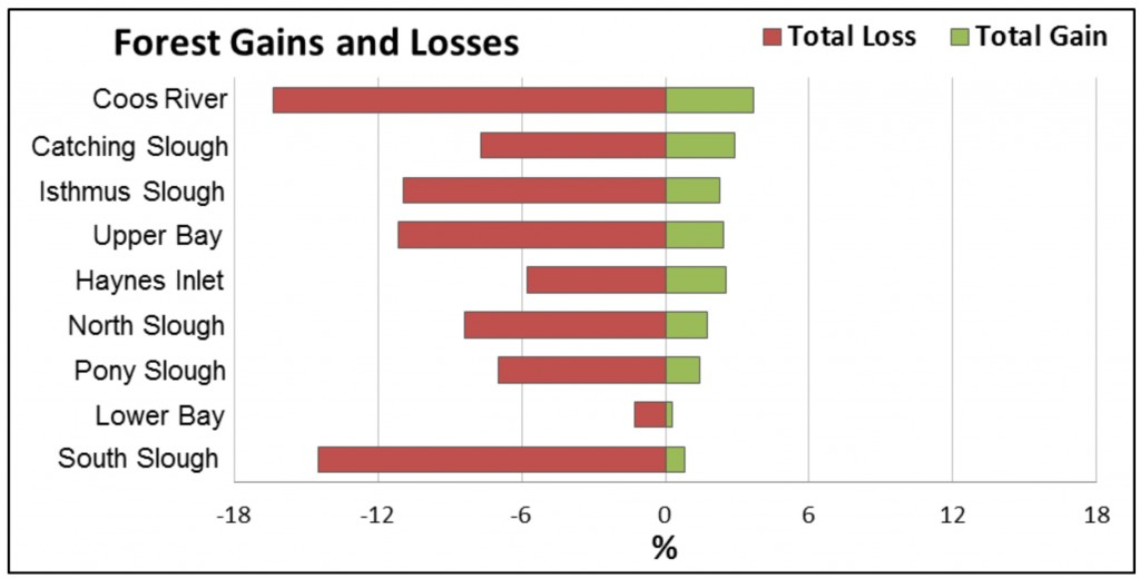 Figure 14. Forest gains and losses 1996-2010. Most losses were conversions to Scrub/Shrub. Data: C-CAP 2014