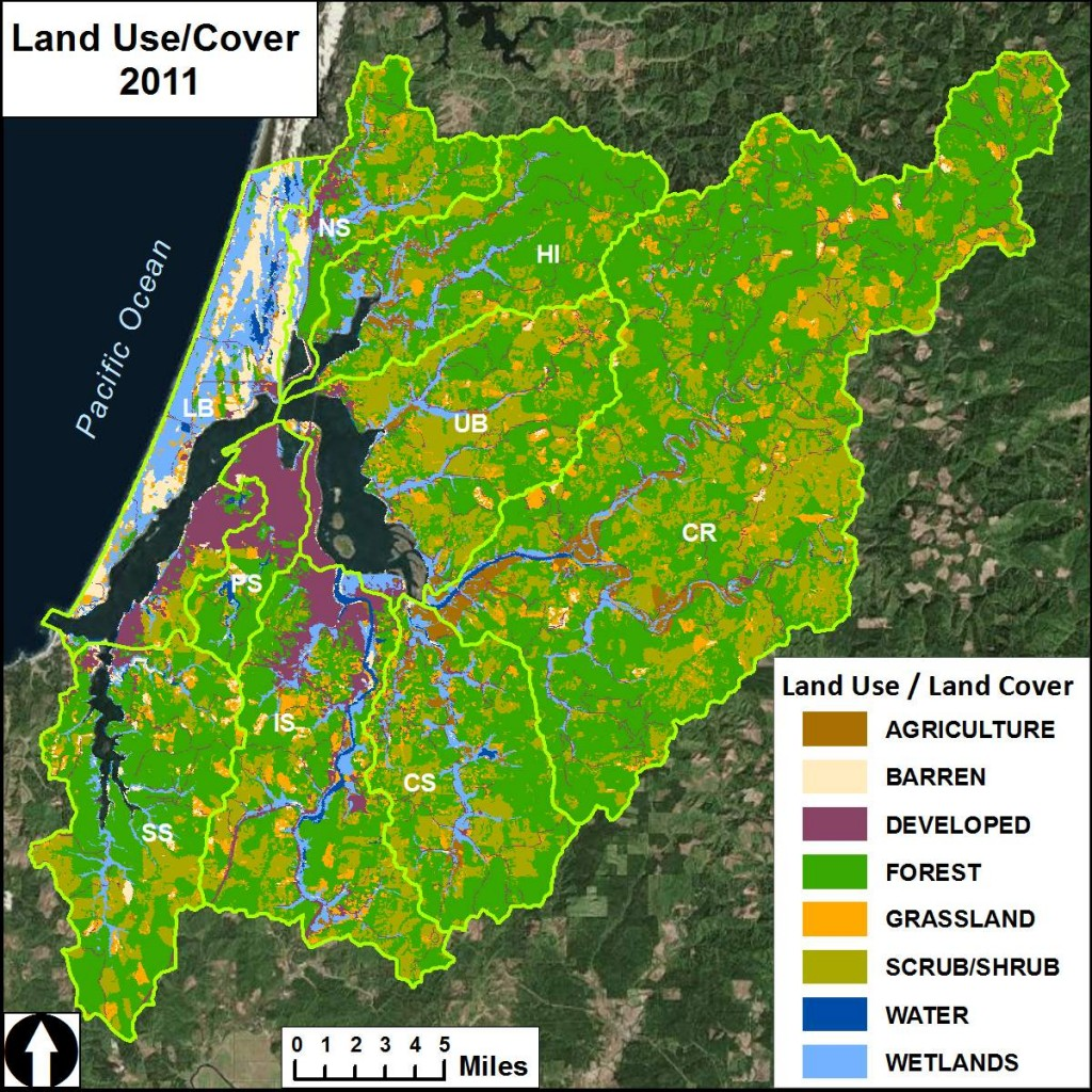 Figure 1. Land use patterns within the project area's nine subsystems.  Data Source: NLCD 2011. Subsystems:    CR- Coos River;   CS- Catching Slough;   HI- Haynes Inlet;  IS- Isthmus Slough;   LB- Lower Bay;   NS- North Slough;   PS- Pony Slough;   SS- South Slough;   UB- Upper Bay