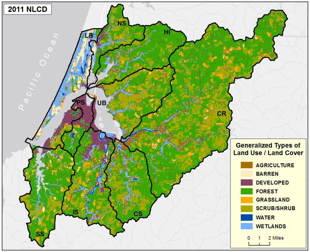 Figure 2c. National Land Cover Dataset (NLCD) 2011 land use and cover. Note the waters of the Coos Estuary were not included in NLCD's 2011 data. Data Source: NLCD 2011