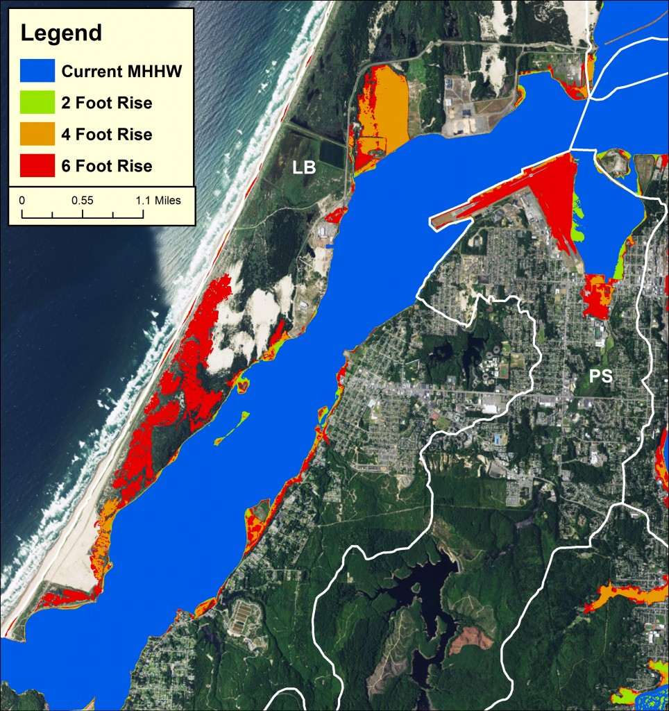 Below left: Figure 4. Sea level rise scenarios in the Lower Bay and Pony Slough subsystems. Data: USDOC 2012.