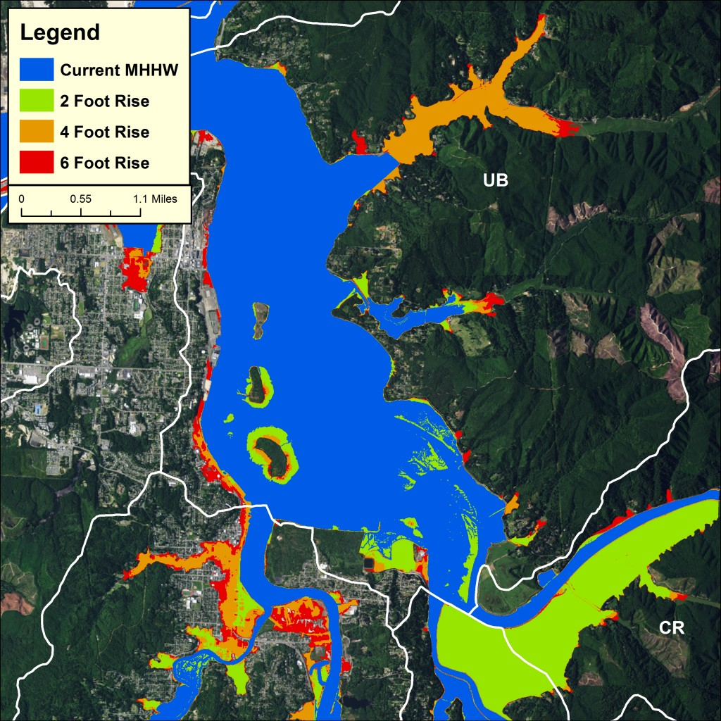 Below right: Figure 5. Sea level rise scenarios in the Upper Bay and lower Coos River subsystems. Data: USDOC 2012.