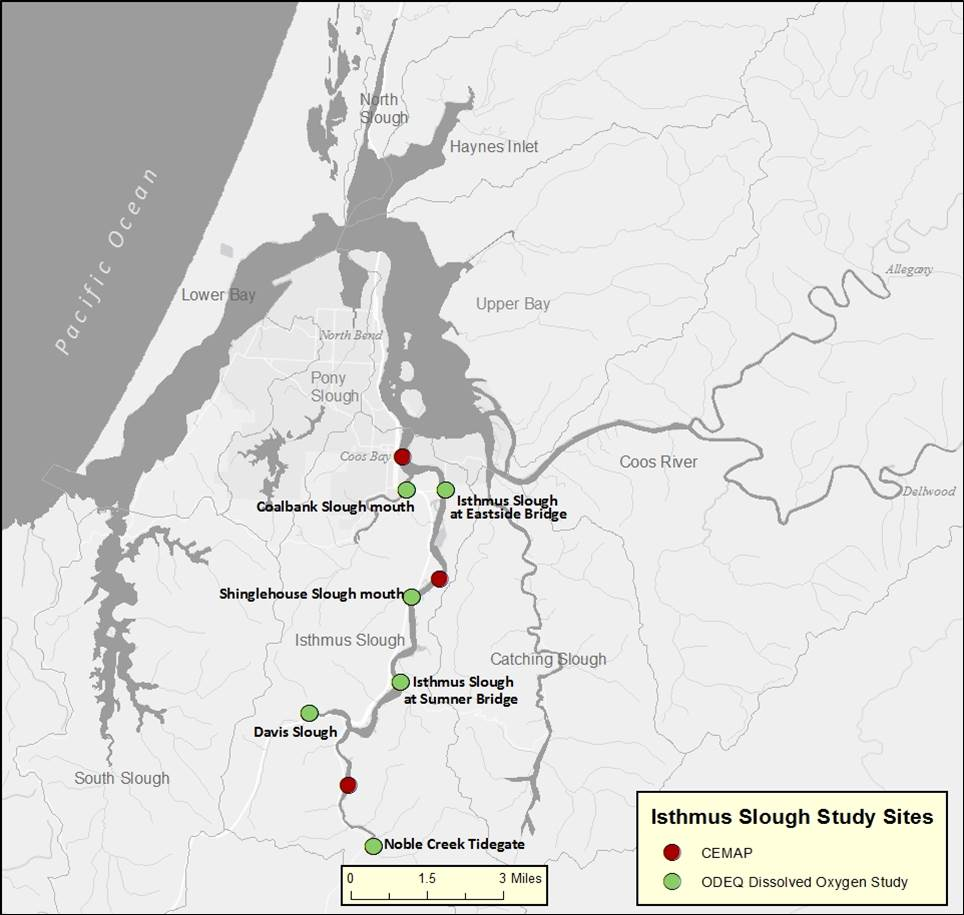 Figure 15. Isthmus Slough site location map. Source: ODEQ 2007; Sigmon et al. 2006)