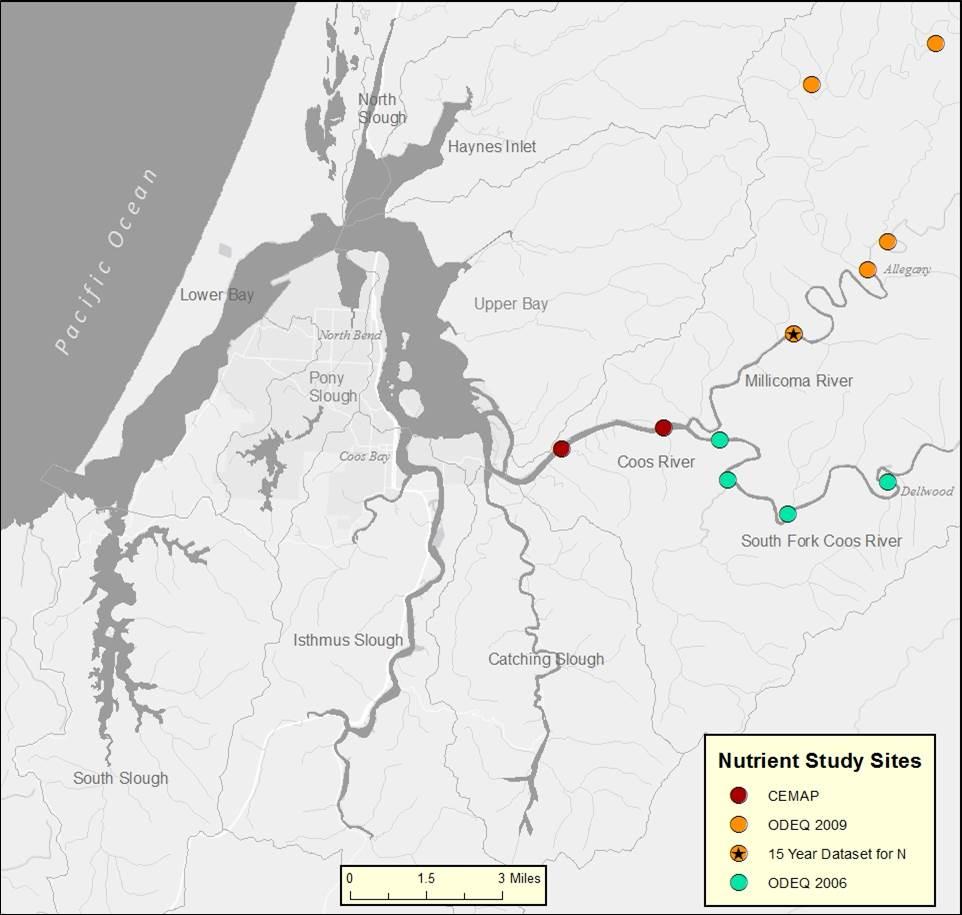 Figure 21. Coos River sampling site location map. Source: ODEQ 2006, 2009; Sigmon et al. 2006.