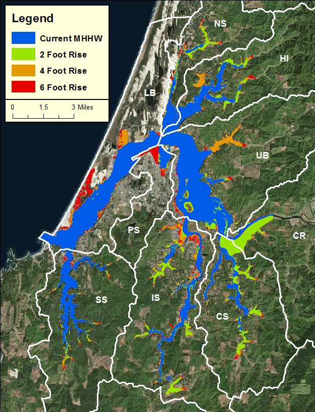 Figure 1. Sea level rise scenarios in the Project Area. Data: USDOC 2012. Subsystems: CR- Coos River; CS- Catching Slough; HI- Haynes Inlet;   IS- Isthmus Slough; LB- Lower Bay; NS- North Slough; PS- Pony Slough; SS- South Slough; UB- Upper Bay