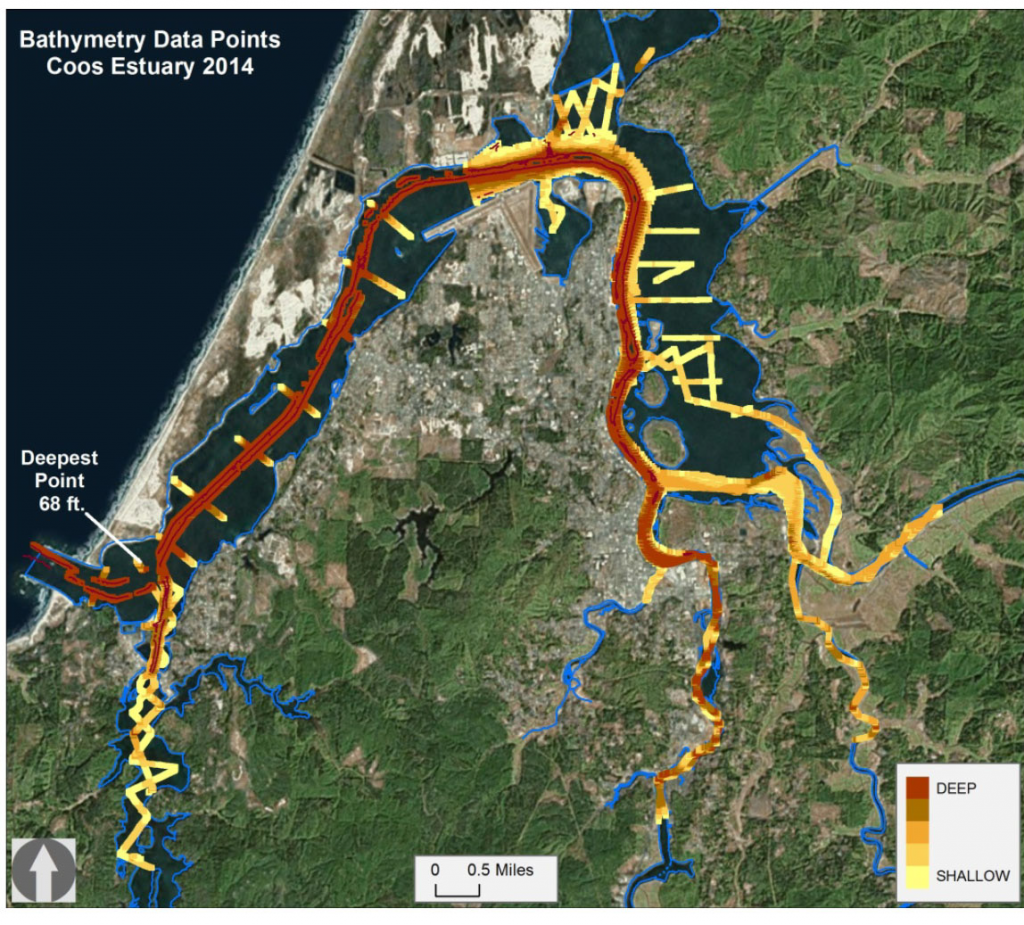 Figure 6. Known bathymetry of the Coos estuary. The estuary boundary is outlined in blue. Data came from regular U.S. Army Corps of Engineer hydrographic surveys, and bathymetry surveying conducted by Oregon State University in 2014.  Data Source: USACE 2014; Wood and Ruggiero 2014