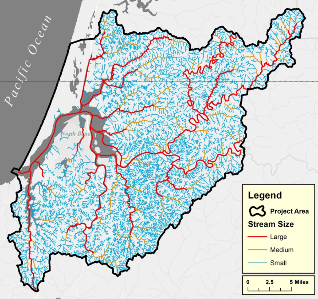 Figure 1. Project area rivers and streams contributing fresh water to the Coos estuary, sorted by size. Large stream flows average ≥10 cfs/year;  Medium stream flows average 2-10 cfs/year; Small stream flows average ≤2 cfs/year. Data: ODF n.d., OAR 2015. Subsystems: CR- Coos River, CS- Catching Slough, HI-Haynes Inlet, IS- Isthmus Slough, LB- Lower Bay, NS- North Slough, PS- Pony Slough, SS- South Slough, UB- Upper Bay