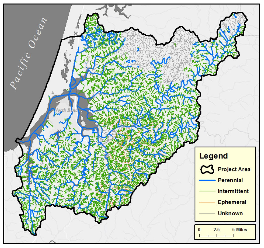 Figure 12. Location of stream types in the project area. Data: ODF n.d.