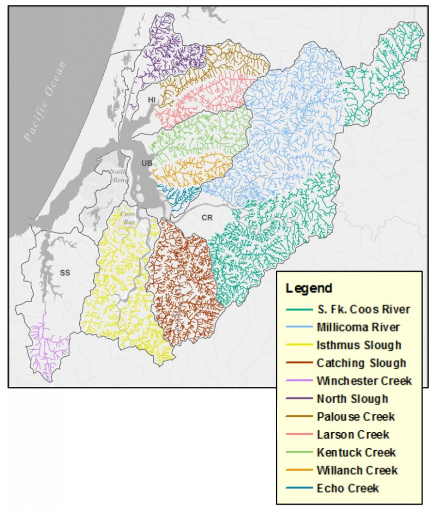 Figure 14. Distribution of watersheds where stream flow (discharge) has been measured. Subsystems mentioned in the report are labeled: HI (Haynes Inlet); UB (Upper Bay); CR (Coos River); SS (South Slough); CS (Catching Slough); IS (Isthmus Slough). Data: ODF n.d.