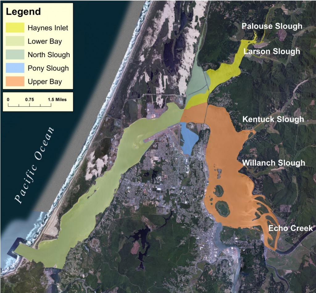 Figure 2a.  Northern portion of the Coos estuary shoreline at Mean High Water (MHW) using 2011 vector shoreline data. Major subsystems are designated by color. Data source: DLCD 2011