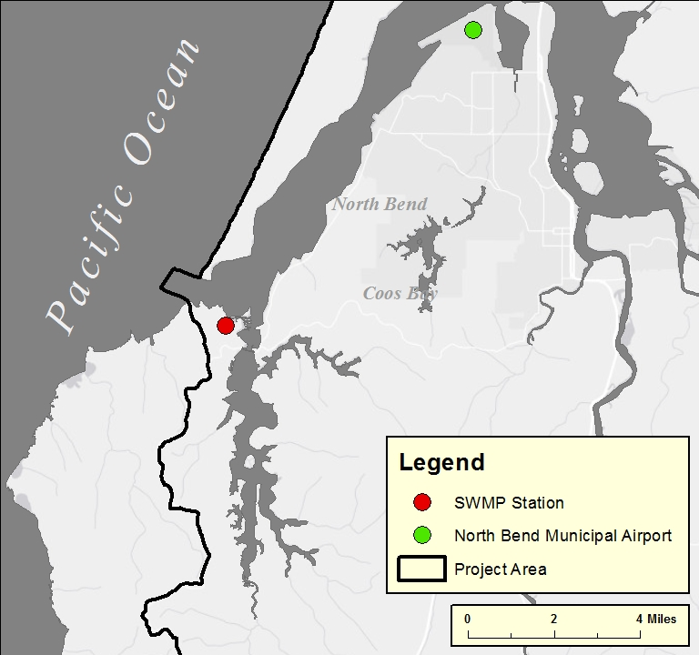 Figure 1. Location of meteorological (weather) stations in the project area.