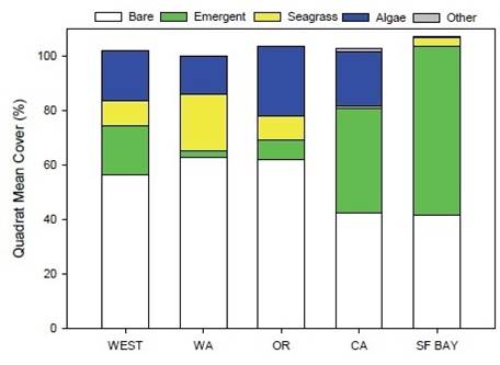 Figure 4. Mean relative abundance of vegetation groups and bare area in Western Ecology Division vegetation quadrats. Figure and caption: Nelson et al. 2007