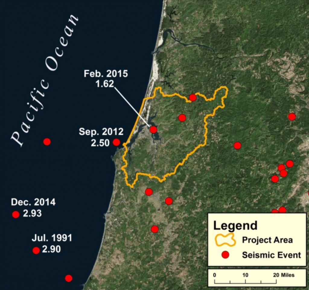 Figure 4: Seismic events (occurring between 1969 and 2015) closest in proximity to the project area. Dates and strength of the highest magnitude events are labeled. Data USGS 2015