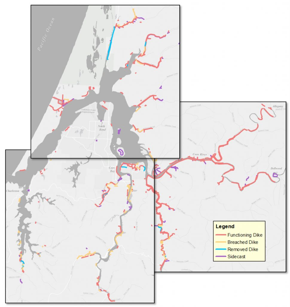 Figure 1. Location and status  of levees as identified by the Oregon Coastal Management Programs levee inventory.  Functioning levees include man-made and natural levees. Data source: OCMP 2011a.