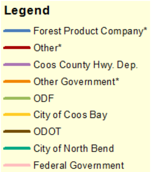 "*ODOT's ""Other"" category was further broken down by cross-referencing with  land ownership (tax lots). ""Other"" now includes roads on tribal, corporate, water board, Port of Coos Bay, and private residential lands. ""Other Government"" represents roads on lands owned by the Cities of Coos Bay and North Bend, Coos County, Oregon Department of State Lands, and federal government.  ""Forest Product Company"" represents roads on lands owned by Menasha Forest Products, Roseburg Forest Products and Weyerhauser. Data source: ODOT 2014."