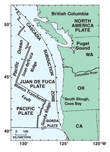 Figure 1: Tectonic components (ridges and plates) in the Pacific Northwest. Arrows on ridges indicate direction of spread. Cascadia Subduction Zone is where the Juan de Fuca Plate is pushed under the North American Plate. Amended from Rumrill 2006