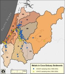 Figure 2. Metals in Coos Sediment Sampling Sites (1980 – 2009) Data: ODEQ 1999, 2001, 2002, 2004, 2005, 2006; USACE 1980, 1989, 1994, 1998, 2004, 2009