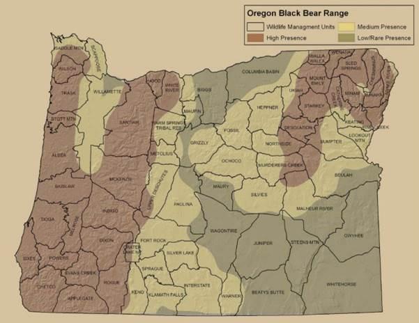 Figure 20. Bear Distribution in Oregon Figure: ODFW 2012.