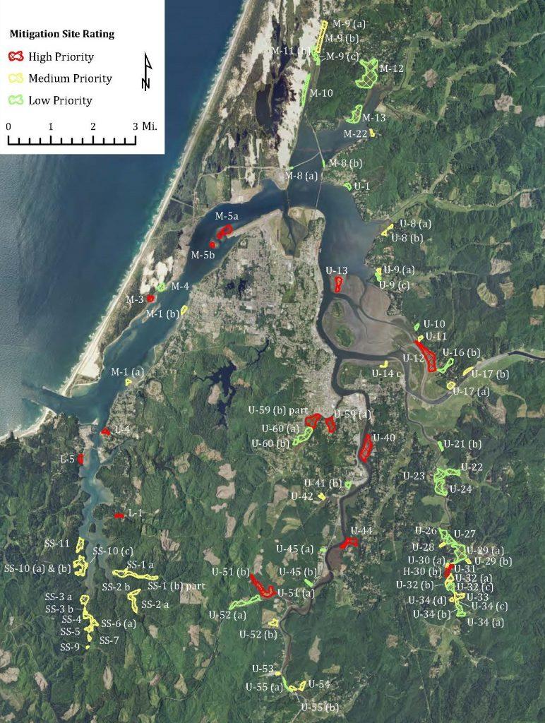 Figure 5: Mitigation sites deisgnated in the Coos Bay Estuary Management Plan.